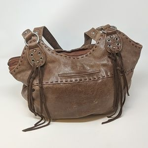 The Sak Brown Leather Fringed Shoulder Bag